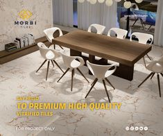 Morbitiles is a dedicated titles sourcing platform in India. We bridge the gap between Tiles Manufacturer, Architect and Builders. We make tiles procurement and selling journey simpler, smarter and faster! Wall Tiles Design, Vitrified Tiles, Tile Manufacturers, Room Tiles, Dining Table, Platform, Interior Design, Luxury, Architecture