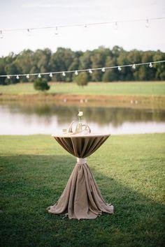 bistro lighting for an outdoor cocktail hour + antler decor | Katherine Miles Jones #wedding