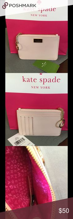 """NWT KATE SPADE BITSY ARBOUR HILL NWT Kate Spade BITSY ARBOUR HILL   Arbour Hill Collection WLRU2652 blslp/vivd  Approximately 5"""" x 3 1/2""""  Leather With Gold Hardware  Gold linked Key Chain attached  4 credit card slots, 1 outside space  Zipped Top Closure interior coin space. kate spade Bags Wallets"""