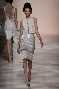 Georges Chakra | Spring 2015 Couture | 10 White sequined sleeveless midi dress