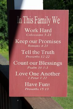 Family Rules Sign with Bible Verses , Love!