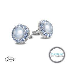 Pioneer Gems Platinum, Sapphire, and Diamond Cufflinks