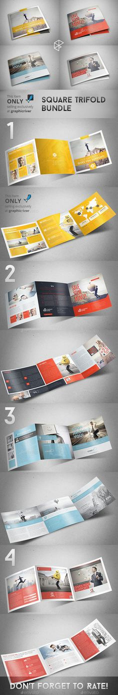 Square Trifold Brochure Templates Bundle #brochure #trifold Download: http://graphicriver.net/item/square-trifold-bundle/11216243?ref=ksioks