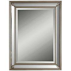 """Jansen Antiqued Silver Leaf 26""""x 34"""" Wall Mirror"""