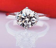 0.5 Carat Round Moissanite Ring Engagement by Donatellawedding
