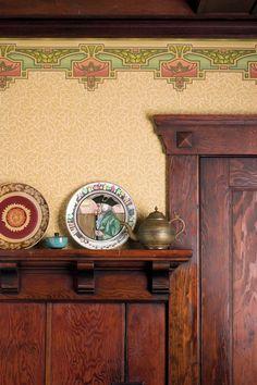 Bradbury's hand-cut 'Arcadia' pattern tops 'Glenwood' to create a deep frieze in a Portland, Oregon, dining room.  Photo: William Wright