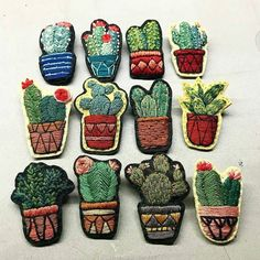 41 Ideas For Embroidery Cactus Handmade Cactus Embroidery, Embroidery Patches, Crewel Embroidery, Hand Embroidery Patterns, Cross Stitch Embroidery, Machine Embroidery, Embroidery Fashion, Embroidery Jewelry, Beaded Embroidery