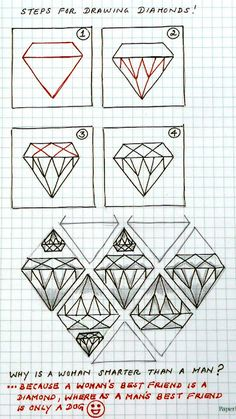 steps for drawing diamonds