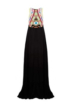 Oxygen | Mara Hoffman Maxi Dress Embroidered Black