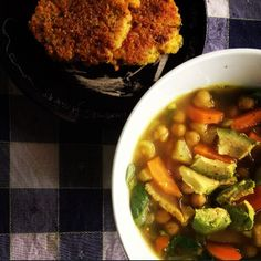 Persian chickpea soup, spiced with fenugreek bay leaves thyme garlic and turmeric served with quinoa fritters.