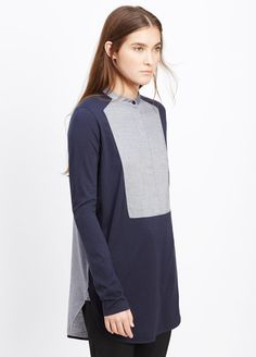 Mixed Media Tuxedo Inset Long Sleeve Top