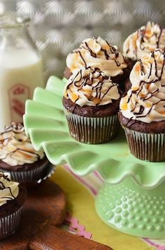 Bailey's Chocolate & Caramel Irish Cream Cupcakes via TidyMom.net