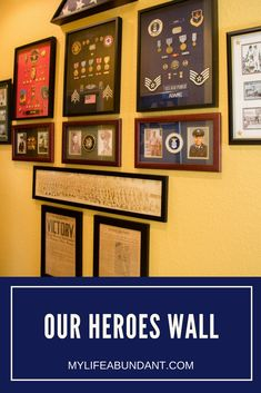 Remembering our heroes in our family with a wall of honor in our home. Learn how we displayed pictures, patches, medals, etc. Picture Wall Living Room, Family Wall Decor, Military Home Decor, Military Shadow Box, Award Display, Memory Wall, Home Office Design, Basement Ceilings, Basement Bars