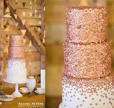 Sparkly dusty peach wedding cake #dreamwedding By #CityViewBakehouse