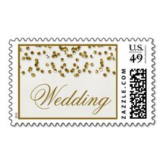 Gold Glamour Glitter Confetti Wedding Postage Stamps