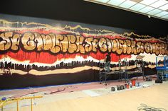 Installing Jean Paul Gaultier - graffiti Jean Paul Gaultier, Exhibitions, Brooklyn, Graffiti, Basketball Court, Graffiti Artwork, Street Art Graffiti