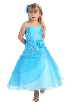 Turquoise Flower Girl Dresses | Turquoise Embroidered Organza A-line Flower Girl Dress