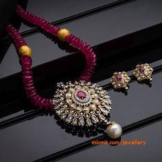 Diamond Pendant Set studded with Ruby Pearl Jewelry, Bridal Jewelry, Antique Jewelry, Beaded Jewelry, Gold Jewelry, Indian Jewelry, Diamond Jewelry, Stylish Jewelry, Jewelry Sets