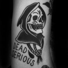 Awesome Black Ink Traditional Dead Serious Reaper Tattoos For Men On Arm