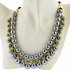 Punk Faux Pearl Ribbon Crystal Rhinestone Ribbon Bib Statement Pendant Necklace #Handmade #Collar #CasualPartygiftCocktailClubEveningProm