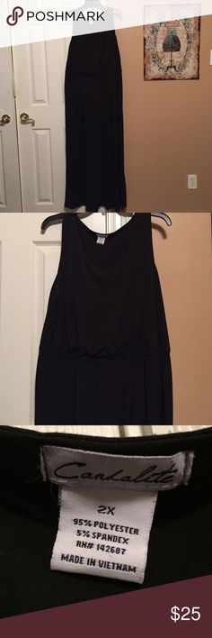 Simple Black Maxi Dress This dress is the brand Candalite and it is a size 2X. Perfect to dress up for a night out or down for a day at work! It does have an elastic band at the waist! Candalite Dresses Maxi