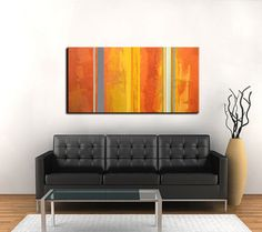 "Thank you for taking a look at my art!    Original by J.Penton - Red Moon Studio  Abstract - Modern - Contemporary Art    TITLE: Phoenix  SIZE: Total Dimensions 48"" x 24"" x 0.75""  MEDIUM: Acrylic on gallery wrapped, stretched canvas.  BACKGROUND: Dark Orange, Red-Orange, Deep Gold  STRIPES: Grays, Cream, Gold, Orange  SHIPPING: FedEx Ground - insured and tracking number provided.    Acrylic on professionally stretched, gallery-wrapped canvas. All sides are painted black, no framing is…"