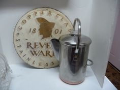 Bail Handle Copper Bottom Revere Ware 14 Cup Stainless Steel Coffee Percolator