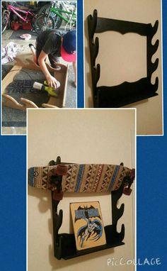 Repurposed an old gun rack into a skateboard holder. DIY . STORAGE