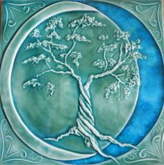 Copper Green Tree of Life Relief Tile with Glass, Pistrucci Artworks