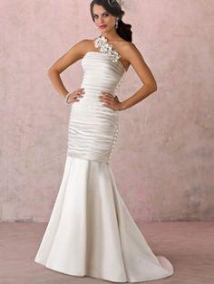 Mermaid / Trumpet Tight One Shoulder Non-Strapless Satin Wedding Dress