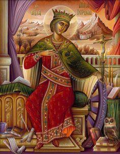 St Katherine the Great-martyr- icon Byzantine Icons, Byzantine Art, Religious Icons, Religious Art, Saint Katherine, Catherine Of Alexandria, Russian Icons, Catholic Saints, Sacred Art