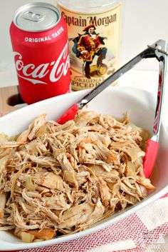 A classic cocktail is transformed into a delicious slow cooker meal that is perfect for game day (or any day!) in this Slow Cooker Captain & Coke Pulled Chicken recipe. Slow Cooked Meals, Healthy Slow Cooker, Crock Pot Cooking, Slow Cooker Recipes, Crockpot Recipes, Cooking Recipes, Cooking Games, Cooking Pasta, Roast Recipes