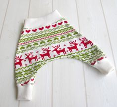 Baby Harem / Ninja Pants in Red Hearts & Reindeer Jersey Knit / Ivory Waist and Ankles - A gift idea from Cwtch Bugs