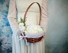 Flower girl basket burlap lace sola flower ivory green brown rustic woodland summer spring wedding vintage custom - pinned by pin4etsy.com