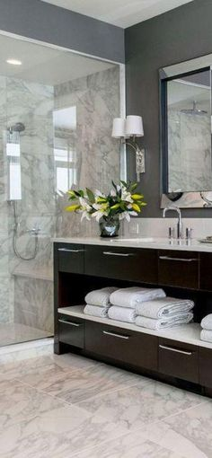 Think we should paint the master bathroom a darker grey?   Interior design: Bathroom perfection - Hubub