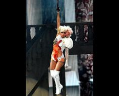 Lady Gaga on stage performing 'Paparazzi'during the 2009 MTV VMAs at Radio City Music Hall.