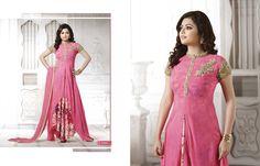 Madhubala as Drashti Dhami Designer Pink Georgette Salwar Kameez Designer Gowns, Indian Designer Wear, Bollywood Suits, Bollywood Celebrities, Cotton Anarkali, Latest Fashion Dresses, Shalwar Kameez, Salwar Suits, Anarkali Dress