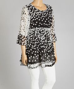 Look what I found on #zulily! Black & White Polka Dot Drop-Waist Tunic - Plus by Lady Noiz #zulilyfinds