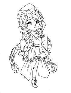 Yuzuki from Chobits - Lineart by JadeDragonne.deviantart.com on @DeviantArt