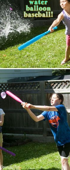 Water Balloon Baseball | 16 DIY Summer Activities for Kids Outside | Fun Summer Ideas for Kids Outside Games Baseball, Sports, Hs Sports, Excercise, Exercise, Sport