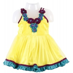 Veetex Baby Frock is very attractive in look it has small flowers made from cloths all around the front neck, it is very beautifully made frock and surely your baby will love to wear this frock in any event or party, your little princess will be centre of attraction in all.
