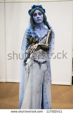 LONDON, UK - OCTOBER 28: Tim Burton's Corpse Bride poses at the London Comicon MCM Expo. Most participants dress up as superheroes for the E...