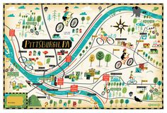 Bicycle Times | Bike map of Pittsburgh, PA. Available as a print...