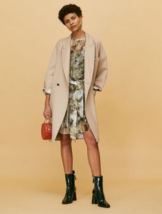 Reversible coat in twill and satin, beige - Max&Co.