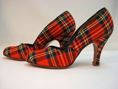 1940s 50s High Heels PERKIEST PLAID PUMPS Tartan Rounded Toe High. $148.00, via Etsy.