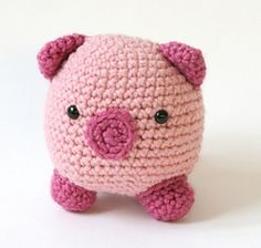 Amigurumi Pig pattern - Free! by Lion Brand Yarn on Ravelry. I'd like to find something hollow of the right size to put inside, and turn this into a piggy bank for a friend's baby :)