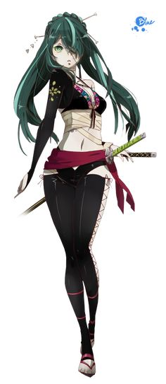 Render Vocaloid - Renders Hatsune Miku Knife song Cheveux Bleus Vocaloid Ninja Deux Sabres Bandages Blessures