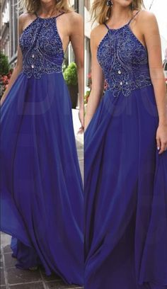 New Design Royal Blue Beading Prom Dresses, The Charming Evening Dresses, Prom Dresses, Real Made Prom Dresses On Sale,