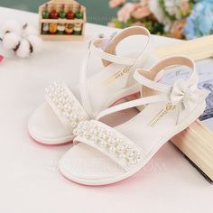 Girl's Peep Toe Microfiber Leather Flat Heel Sandals With Beading Bowknot Velcro - Girls' Shoes - JJsHouse Cute Shoes Flats, Cute Girl Shoes, Cute Sandals, Pretty Shoes, Kid Shoes, Girls Shoes, Flat Sandals, Baby Girl Sandals, Kids Sandals