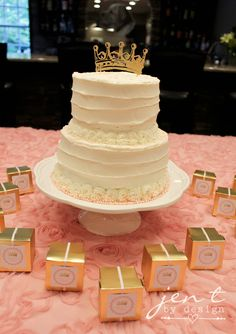 Pink and gold baby shower cake - tiara cake topper made using the @silhouettepins Cameo.  SO cute!!!